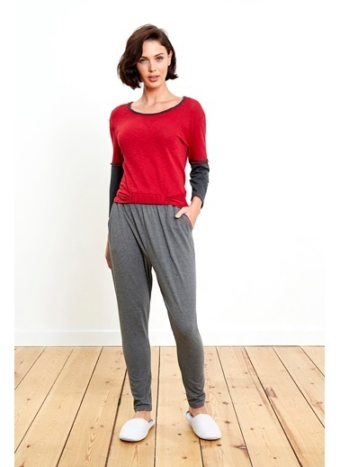 Reflections Çift Renk Kombinli Kırmızı Pijama Takımı Renkli